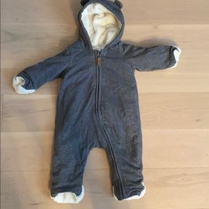 H&M Hooded Fold Over Hands Fold Over Feet Onesie